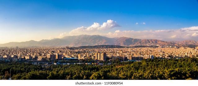 Colorful Panoramic cityscape of Tehran-Iran.Tehran skyline.