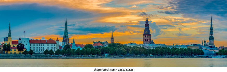 Colorful panoramic view on the old Riga town - historical district of the capital city of Latvia. Riga is also political, financial, tourist and cultural center of Baltic Region