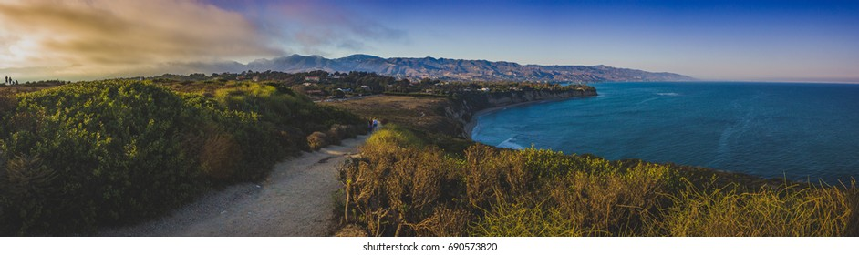 Colorful panoramic view of Southern California coast from Point Dume, Malibu during sunset