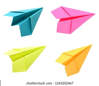 Colorful Paper airplane on white background
