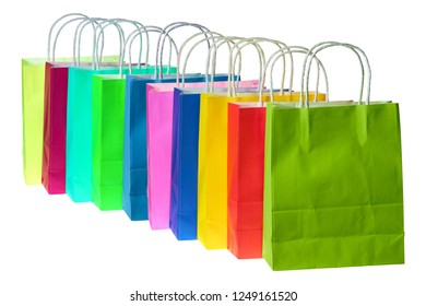 Colorful paper bags lined up in a row.