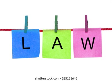 Colorful paper cards with words LAW hang on rope isolated on white.