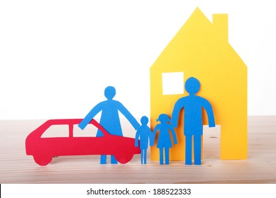 Colorful Paper Chain Family with Car and House, Isolated