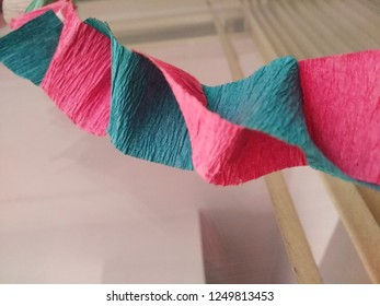 Colorful paper folded or dna format garland decoration for door during dasara and ayuda puja