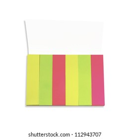 Colorful paper notes on a white background