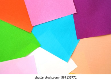 Colorful paper on the table, colorful background, paper texture.