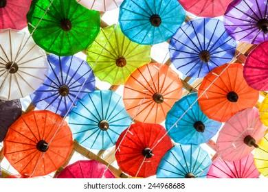 Colorful of Paper Parasols,Paper Umbrella Backgrounds & Textures