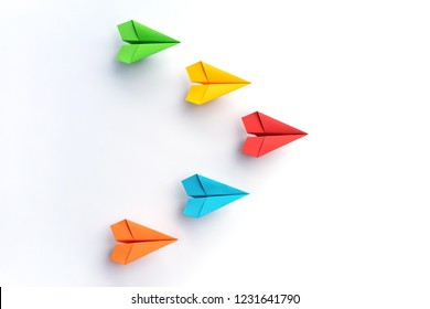 Colorful Paper plane on white background. Business competition concept.