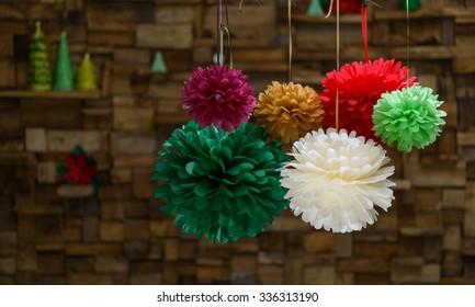 Colorful paper pom poms