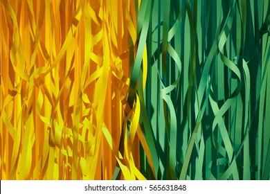 Farbiger Hintergrund für Papierträger. Die grüne und gelbe Karnevalsfeier Serpentine-Dekoration.