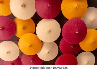 Colorful paper umbrella decor ceiling