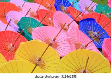 Colorful Paper Umbrella handmade at Chiang Mai Thailand