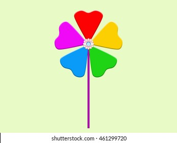 Colorful paper windmill pinwheel illustration