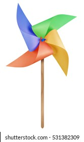 Colorful paper windmill pinwheel isolated on white with Clipping Path