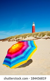 Colorful parasol at the summer beach