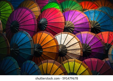 Colorful parasols at Luang Prabang Market