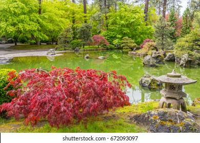 Colorful park in Japanese style. Manito Park and Botanical Gardens, Spokane, Washington, United States