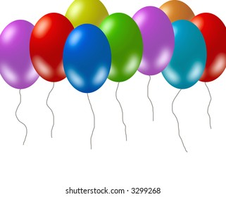 Colorful party balloons on white background