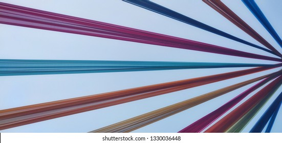 Colorful party cloths converging at a point. Makes an excellent background. Also is an optical illusion giving a 3d effect.
