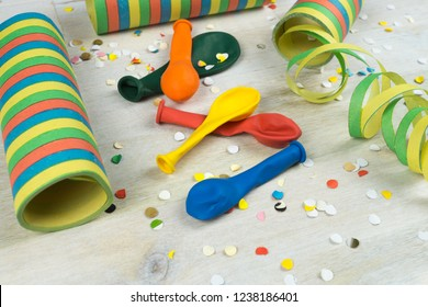 Colorful party decoration, streamers, balloons and confetti