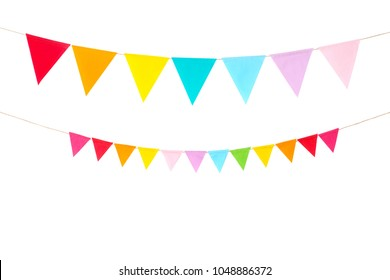 Colorful party flags isolated on white background, birthday, anniversary, celebrate event, festival greeting card background