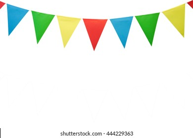 colorful party flags made of paper isolated on white background with clipping path