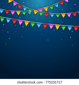 Colorful party flags on blue background