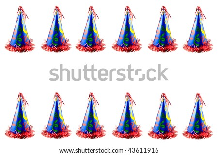 a colorful party hat border at top and bottom isolated on white horizontal with copy