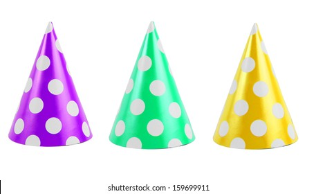 colorful party hats over white