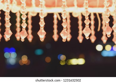 Colorful Party Lights Seen From Beneath a Decorative Beaded Streetlight in the Popular Resort Village of Oludeniz, Fethiye, Turkey.