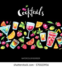 Colorful party seamless horizontal border. Watercolor tropical cocktails, fruits, berries. Modern summer background for holiday card, postcard, gift wrapping paper. Food and drinks illustration.