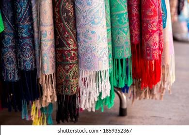 Colorful pashmina scarves, closeup shot. Arasta Bazaar, Istanbul