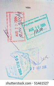 Colorful passport stamps of philippines and indonesia