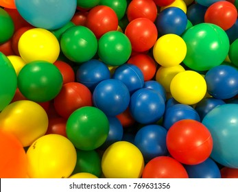 Colorful pastic ball on children playground.