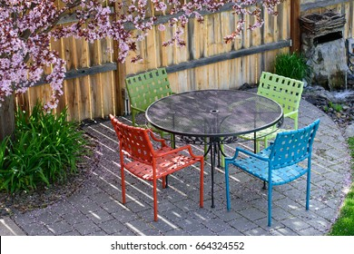 Colorful patio furniture under a flowering plum in full bloom