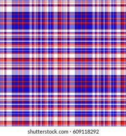 colorful and patriotic Red White and Blue tartan plaid seamless vector background.