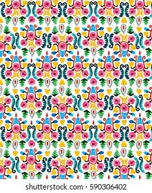 Colorful pattern with flowers primitive style. Beautiful floral pattern on white background. Oriental hand-drawn raster watercolor illustration.