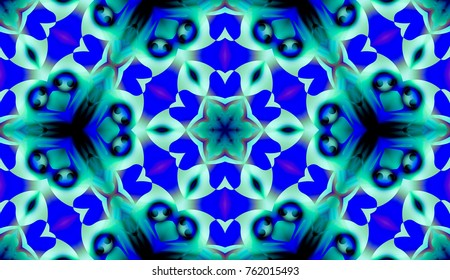 Colorful pattern with geometric form and floral design
