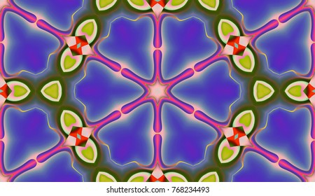 Colorful pattern with geometric form and flower