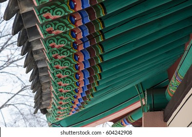 colorful pattern on the Korean traditional building