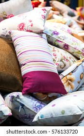 Colorful pattern pillows,selective focus