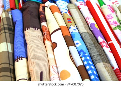 Colorful patterns in fabric stores.