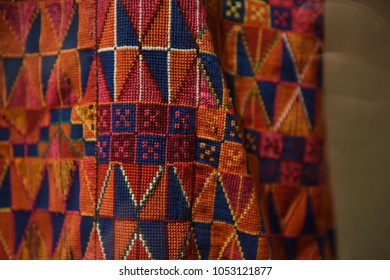 Colorful patterns of Palestinian embroidery using  a double cross stitch. Traditional Palestinian dressed were always embroidered, but the colors and patterns varied from one region to another.