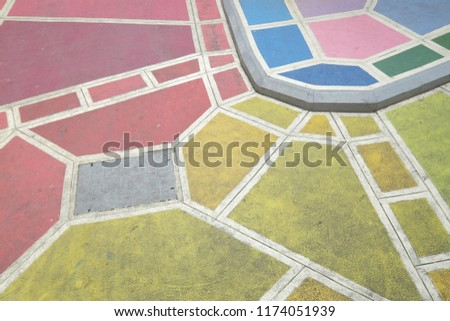 Colorful pavement on street area