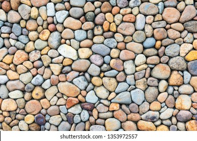Colorful pebble stone wall texture