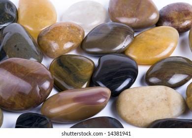 colorful pebbles close up shot