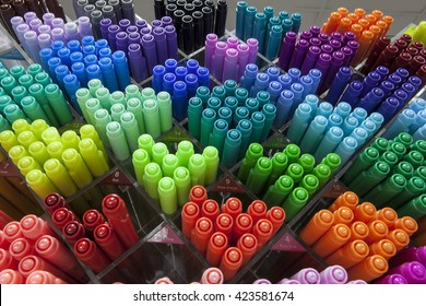colorful pen shelves in stationery store