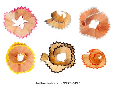 Colorful pencil shavings isolated on white background