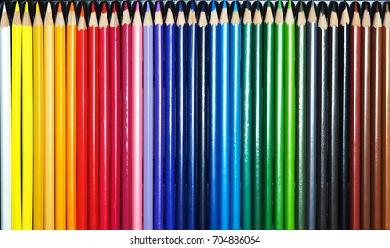 Colorful pencils close up.