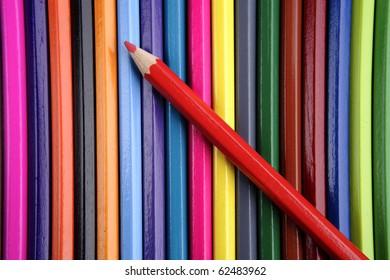 Colorful pencils closeup